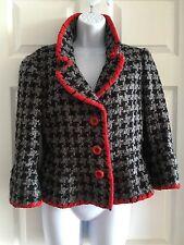 Moschino Size 10 Gray Black & Red Blazer Tweed Authentic Pristine Fashion