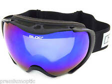 BLOC matte black MASK ski snowboarding Goggles with Blue Revo Mirror MK5