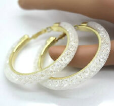 LARGE WHITE MESH CRYSTAL STARDUST HOOP EARRINGS. 55MM