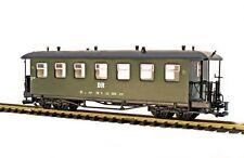 Train Personenwagen, Runddach, grün, DR, Spur G, Edelstahlradsätze, für LGB