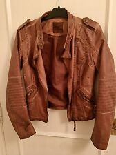 Brown Faux Leather Women's Jacket U.K. Size 8 With Zip Denim Co Brand