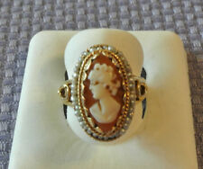 SALE !14k ANTIQUE yellow Gold CAMEO with seed pearl in Ornate Design RING! 6 1/2
