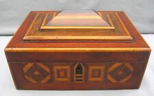 A superb large Parquetry inlaid sewing or jewellery box - Edwardian?