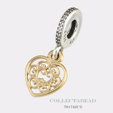 Authentic Pandora Silver & 14K Gold Hanging Magnificient Heart CZ Bead 791742CZ