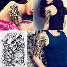 Punk Temporary Skull Arm Art Tatoos Stickers Black Removable Waterproof TR15 Hot