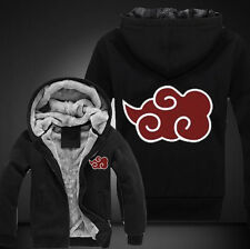 Anime NARUTO Akatsuki Clothing Thicken Jacket Cosplay Sweater Hoodie Black Coat