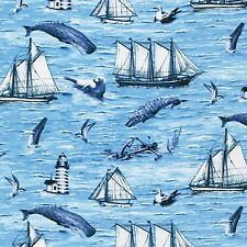 Fabric Whale Watching Lighthouse Sailboats on Ocean Blue Cotton by the 1 yard S