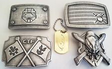 4 NEW HALO 3 XBOX 360 ODST BELT BUCKLES SKULL, SPARTAN, FLAG, SHIELD & DOG TAG
