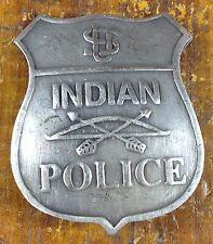 US Indian Police Bow Arrow Logo Shield Shaped Silver Plated Pinback Police Badge