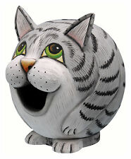BIRD HOUSES - GREY TABBY CAT BIRDHOUSE - GRAY TABBY CAT BIRD HOUSE - GARDEN
