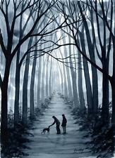PRINT ART GREYHOUND WHIPPET LURCHER DOG ORIGINAL 7113 DIANNE HEAP DOGS TREES