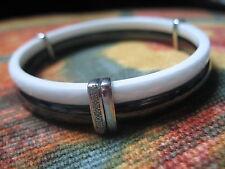 Bracelet jonc céramique noir blanc  Guy Laroche or  blanc 18 carats+ diamants