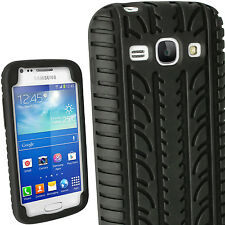 Black Silicone Tyre Skin Case Cover for Samsung Galaxy Ace 3 S7270 3G Smartphone