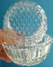 Two vintage clear GLASS candy nut dish bowl, ribbed / waffle design