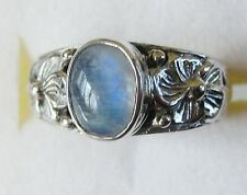 Rainbow Moonstone Ring,  925 Sterling Silver,  size 7