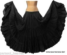 BLACK COTTON SKIRT 7 YARDS, BELLY DANCE TRIBAL BOHO GYPSY BEACH. MADE N  INDIA