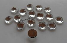 LOT 15 PERLES STRASS ROND A COLLER ACRYLIQUE TRANSPARENT 20 mm - CREATION BIJOUX