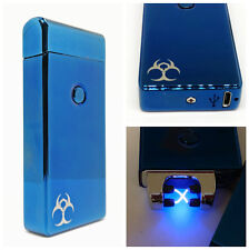 Blue Winter Steel Plasma Arc Lighter USB Rechargeable WIndproof Electric Battery