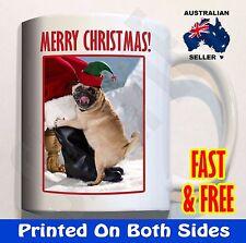 Pug Dog Humping Santa Leg - Coffee Mug Cup Xmas Gift Christmas hat present