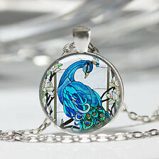 1 pcs Blue Peacock Bird Glass Cabochon Tibet silver pendant chain necklace