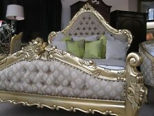 Large Boudoir Grand Italian Gold Leaf Ornate French Louis Gilt Double Size Bed