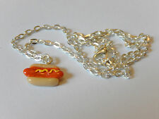 Hot Dog Necklace Cute Retro Food Novelty Kitsch Kawaii Chain Charm Pendant Funky