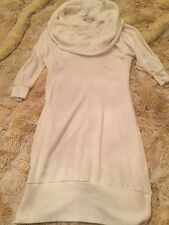 FOREVER 21 CREAM SWEATER DRESS LONG TOP OFF-WHITE SIZE SMALL COWL NECK SOFT KNIT