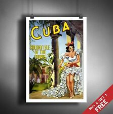 A3 Large CUBA GIRL POSTER Vintage Retro Travel Wall Art Home Decor Picture