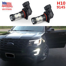 2x 50W H10 9145 LED CREE 6000K White Fog Lights Bulb FOR Ford Chevrolet Dodge