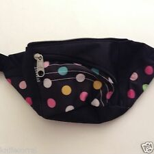 EVEREST WAIST FANNY PACK 044A NEW BLACK WTH POKA DOTS