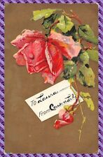 Carte Postale - Fantaisie - Gaufrée -  rose
