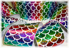 "3"" SPARKLE PRIMARY MERMAID SHELLS RAINBOW HOLOGRAM GROSGRAIN RIBBON TICK TOCK"