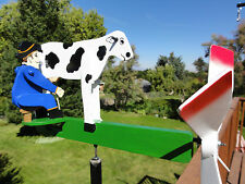 Handcrafted Whirligig Garden Decor COW MILKER, Outdoor Wind Spinner Patio, Deck