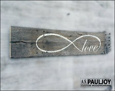 LOVE INFINITY Handmade Sign Rustic Distressed Gray Pallet Wood Valentine's
