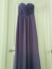 Purple Violet Sweetheart Strapless Chiffon Bridesmaid Dress Size 8 Full-Length