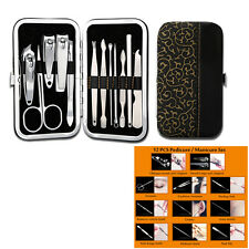 12PCS Pedicure/Manicure Set Nail Clippers Cleaner Cuticle Grooming Kit Case