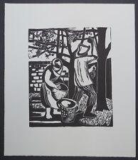 Gretchen Wohlwill Weinlese Holzschnitt 1956 handsigniert