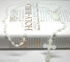 WHITE LUMINOUS GLOW IN THE DARK ROSARY BEADS NECKLACE JEWELRY 99p SALE