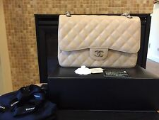 "AUTH Chanel 12"" Double Flap Jumbo Light Beige Claire Caviar  Bag - EXCELLENT"