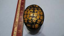 Hand Painted India Yellow Floral Paper Mache Trinket Jewelry Box