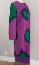MARIMEKKO MOD VINTAGE PLUM GREEN CIRCLES POLKA DOT ZIP UP DRESS  SIZE M 8