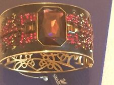 SWAROVSKI SIGNED CRYSTAL JEWELED FILIGREE CUFF BRACELET RED PINK 22 KGP NWT 2in1