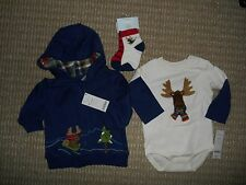 Gymboree NWT Baby Boy 6-12 Jolly Moose Hooded jkt, LSBS,& 2Pk sock set
