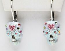 KIRKS FOLLY SUGAR SKULL DREAM LEVERBACK EARRINGS silvertone