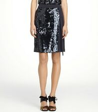 NWT Tory Burch Ellsworth Skirt Sequin Front Panel Black $625 - Size 8