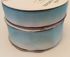 "Pastel Blue Ombre Gradient Ribbon Lot Wired Edge 3/4"" 1.5"" White Light 2 Spools"