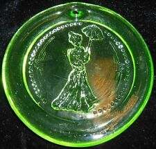 Green Vaseline uranium glass yellow Christmas ornament sun catcher umbrella Xmas