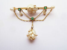 ANTIQUE EARLY THEODORE FAHRNER JUGENDSTIL BROOCH 18CT PEARL  EMERALDS & DIAMOND