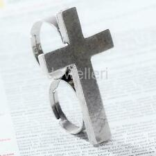 Retro Punk Gothic Silver Cross Adjustable Two Finger Double Ring Jewelry