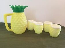 Minerware Vintage Pineapple Pitcher and Cups 5 Piece Set Yellow